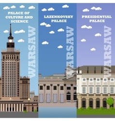 Warsaw tourist landmark banners vector