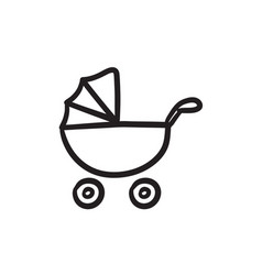 baby stroller sketch icon vector image