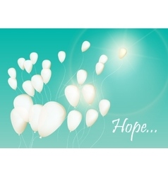 Background with white balloons in the sky vector