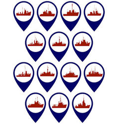Badges with frigates and corvettes-1 vector