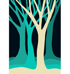 Blue tree silhouettes forest vector image