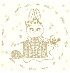 Bunny knitting needles vector