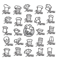 chef hats set vector image vector image