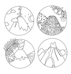 Coloring book page with volcanoes vector