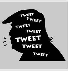 donald trump tweets silhouette icon vector image vector image