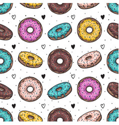 donuts with colorful glazing seamless pattern vector image vector image