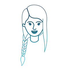 Female face with braid and fringe hairstyle in vector