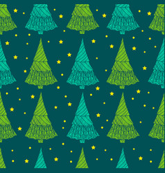 festive christmas seamless pattern decorative fir vector image