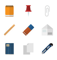 Flat icon equipment set of letter copybook vector