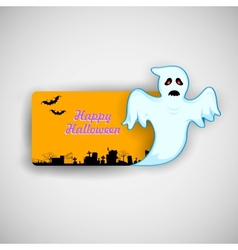 Flying Boo ghost wishing Happy Halloween vector image vector image