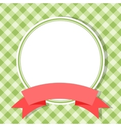 Green frame for invitation card with red ribbon vector