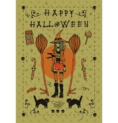Happy halloween postcard invitation vector image