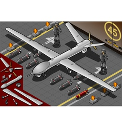 Isometric drone airplane landed in front view vector