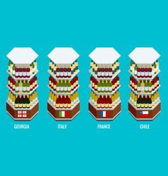 isometric wine bottles stacked on wooden racks vector image