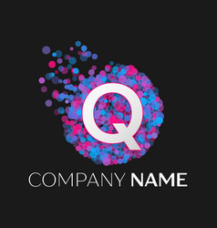 letter q logo with blue purple pink particles vector image