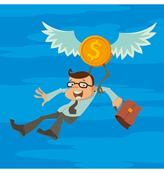 Man and winged coin vector
