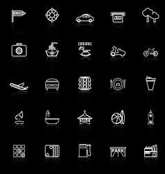 Map place line icons with reflect on black vector image