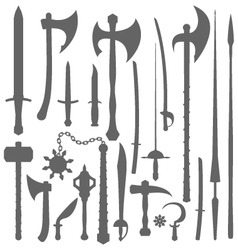 medieval weapons silhouette set vector image