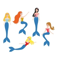 Mermaids set vector
