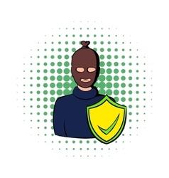 Robbery insurance icon comics style vector