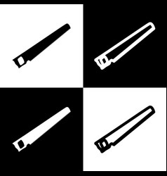 Saw simple sign black and white icons and vector