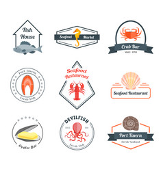 Seafood badges or labels set vector
