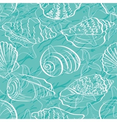 Seamless background outline seashells vector image vector image