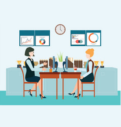two business woman sitting at the table vector image