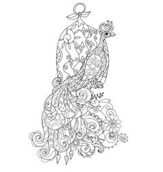 Zen art stylized peacock hand drawn doodle vector