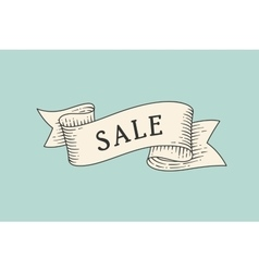 Greeting card with ribbon and word sale vector