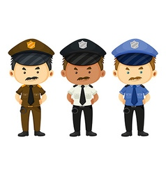 Policeman in three different uniforms vector image
