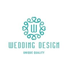 Wedding logo design turquoise with hearts and the vector