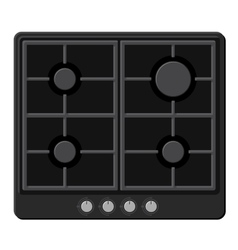 Surface of black gas hob stove vector