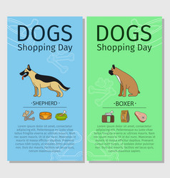 shepherd and boxer dog shopping day vector image