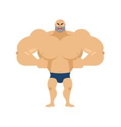 Athlete angry emoji aggressive bodybuilder unkind vector
