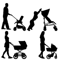People pushing strollers vector