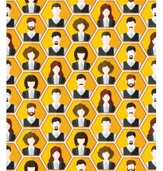 Seamless avatar characters pattern background vector image