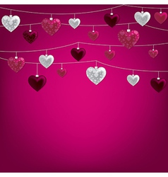 String of valentine baubles card in format vector