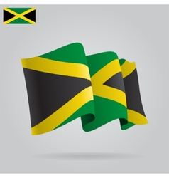 Flat and waving jamaica flag vector