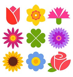 Colorful flower icon set vector