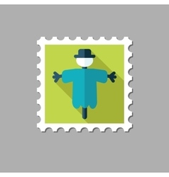 Scarecrow flat stamp with long shadow vector