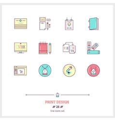 Print design line icons set vector