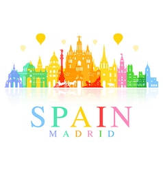 Spain madrid travel landmarks vector