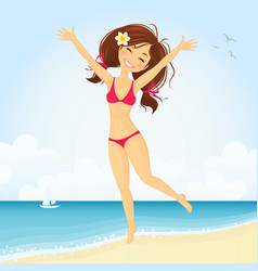 Jumping beach girl vector
