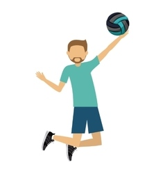 Male athlete practicing volleyball isolated icon vector