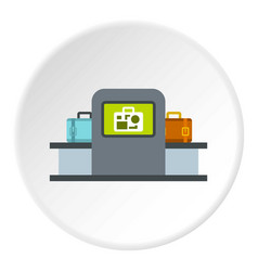 Airport baggage security scanner icon circle vector
