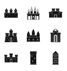 ancient fortresses icon set simple style vector image vector image