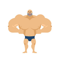 Athlete angry emoji aggressive bodybuilder unkind vector