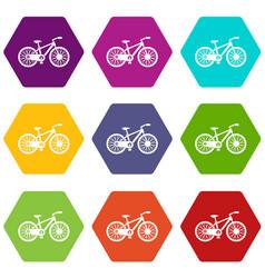 bicycle icon set color hexahedron vector image vector image