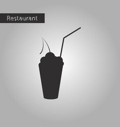black and white style icon cocktail with cherry vector image vector image